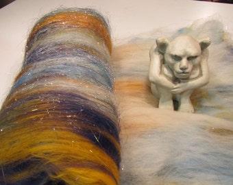 PRINCE CHARMING 4.0 oz, Spinning fiber, art batt, carded wool batt,  textured bling batt, Angelina fiber, felting fiber , fiber batt,