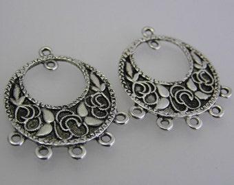 2 Filigree Chandelier Connectors , Chandelier Earrings, Filigree Wrap, Silver Tone Jewelry Embellishments Jewelry Findings