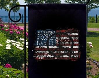 USA Flag Peace Small Black Garden Flag, Graffiti Art Tattoo