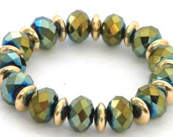 Shiny Green Beaded Bracelet with Golden Hoops