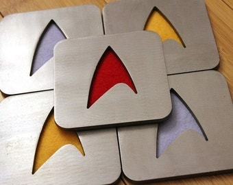 Star Trek Coaster Set of 5, Steel, Command, Gold, Sciences, Blue, Security, Red