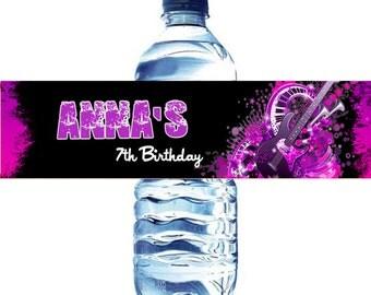 Rock Party Water Bottle Label  - Rock Star water bottle label - Rock and Roll Water label - Rock Star Water Label