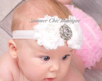 Baby Headband, Infant Headband, Newborn Headband, Toddler Headband, White Baby Headband, Christening Headband, Baptism Headband