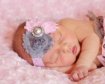 Baby Headband, Infant Headband, Newborn Headband, Shabby Chic Headband Pink and Gray on Pink Lace