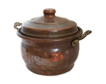 Stock pot with lid, Vintage copper cookware, old canister, gourmet kitchen, canning, cooking, rustic kitchenalia, kitchenware, BRASS HANDLES