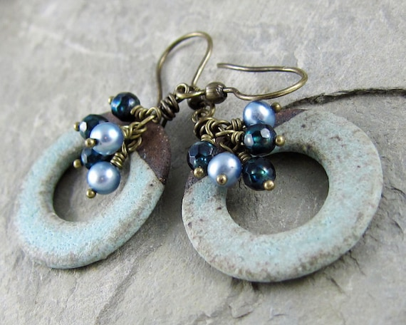 Ceramic hoop earrings by Linda Landig Jewelry