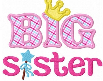 Instant Download Big Sister With Magic Wand Applique Machine Embroidery Design NO:1301