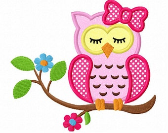Instant Download Sleeping Girl Owl On Branch Applique Machine Embroidery Design NO:1332