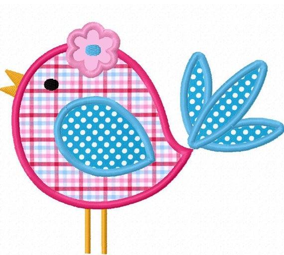 Instant Download Cute Bird Applique Machine Embroidery Design