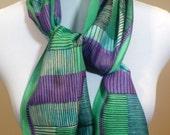 Vera Neumann Designer Scarf, Spring Scarf,  Designer Scarves, Silk Scarf, Green Scarf