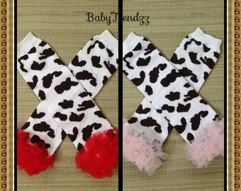 Red cow/ Pink Cow/ Cow Print Legwarmer/ Photo prop