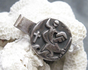 Vintage James Avery Sterling Tie Clip St. Christopher Mens Jewelry H484