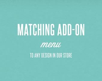 Matching Add-On Menu - DIY Printable Stationery