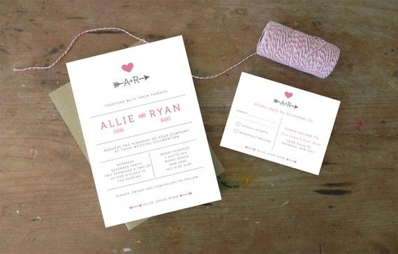 DIY Printable Wedding Invitation Cupid - 4 pieces