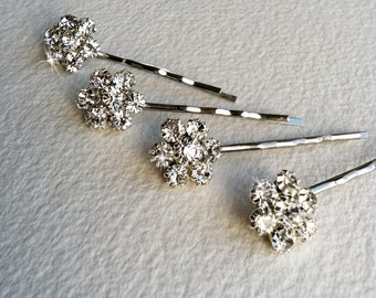 Silver Bridal Rhinestone Flower Hairpins 4 pc - wedding hair pin, bridal silver hair, crystal hair clip, hair accessory, bobby pin  FLOWER