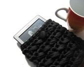 Kindle Cover, Black Kindle Case, Crochet OOAK