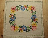SALE Square vintage Scandinavian tablecloth with embroidered flowers