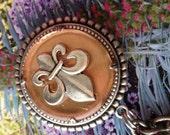 Fleur de lis, Cooper Necklace, Double Beads Edge Setting, Harmony Pendant Necklace