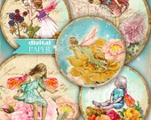 little fairies - 2.5 inch circles - set of 12 - digital collage sheet - pocket mirrors, tags, scrapbooking, cupcake toppers