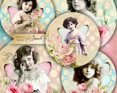 Vintage Rounds - 2.5 inch circles - set of 12 - digital collage sheet - pocket mirrors, tags, scrapbooking, cupcake toppers