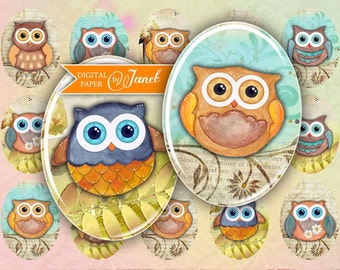 Owl - oval image - 30 x 40 mm or 18 x 25 mm - digital collage sheet  - Printable Download