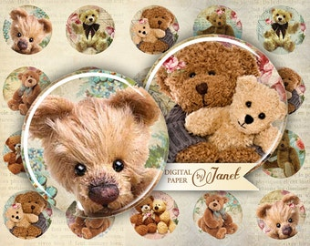 Teddy Bears - circles image - digital collage sheet - 1 x 1 inch - Printable Download