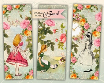 Alice in Wonderland - bookmarks - set of 6 bookmarks - digital collage - printable JPG file