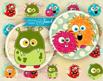 MiMi monster - circles image - digital collage sheet - 1 x 1 inch - Printable Download