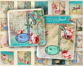 Musica - squares image - digital collage sheet - 1 x 1 inch - Printable Download