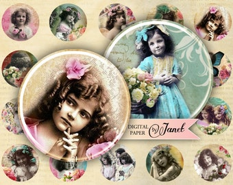 Bambina - circles image - digital collage sheet - 1 x 1 inch - Printable Download