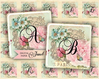 Sweet Alphabet - squares image - digital collage sheet - 1 x 1 inch - Printable Download