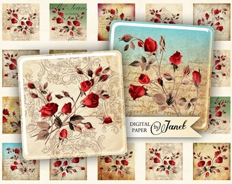 Wild Rose - squares image - digital collage sheet - 1 x 1 inch - Printable Download
