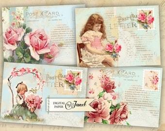 Roses Post Card - digital collage sheet - set of 8 - Printable Download - Instant Download