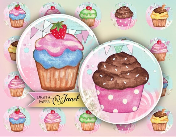 Cupcake Party - circles image - digital collage sheet - 1 x 1 inch - Printable Download
