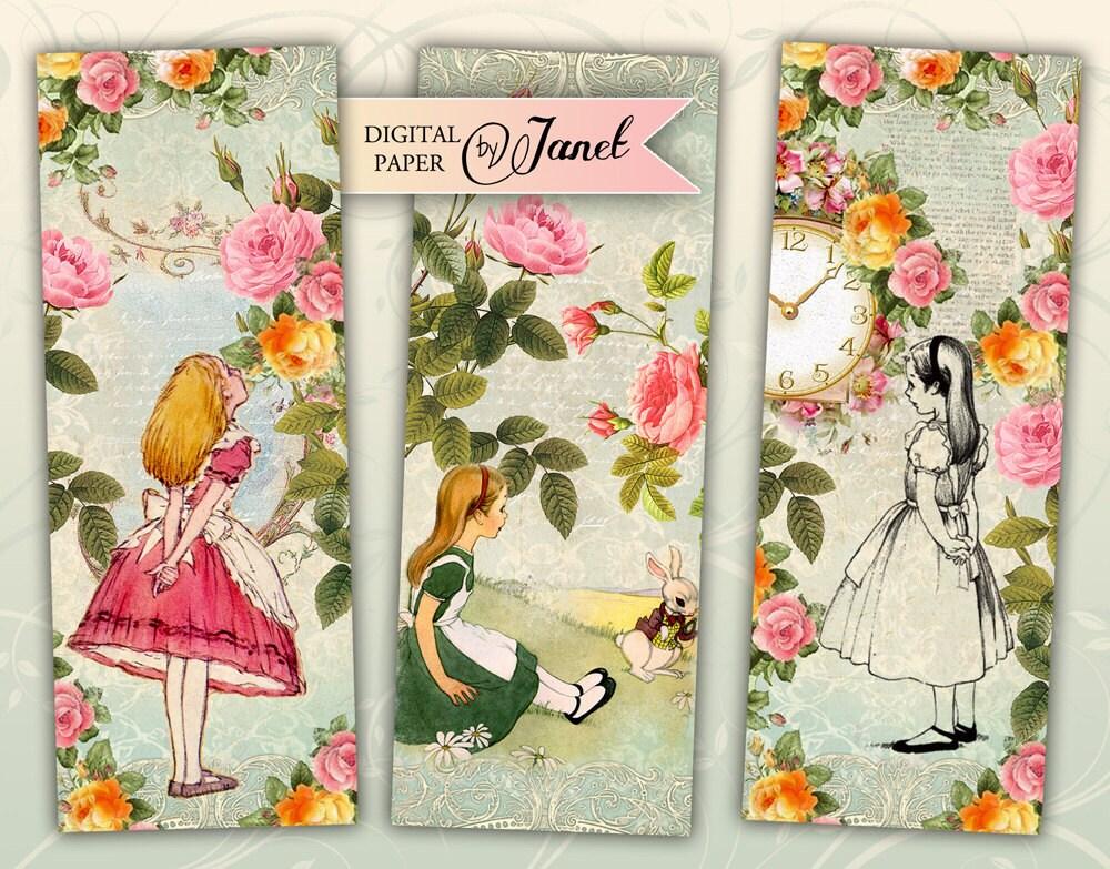 alice in wonderland bookmarks set of 6 bookmarks digital