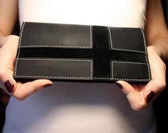 Leather long wallet Black