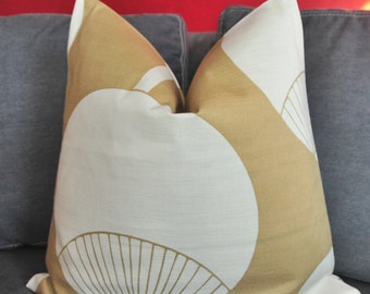 Pillow Cover, Decorative Pillow, Throw Pillow, Toss Pillow, Sofa Pillow, 20x20 inch, Taupe Fan, Chinese Fan, Home Decor, Home Furnishing