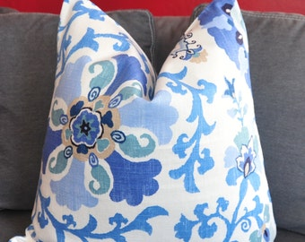 Blue Pillow, Blue Suzani, Pillow Cover, Decorative Pillow, Throw Pillow, Toss Pillow, 20x20 inch, Home Furnishing, Home Decor, Pillow Case
