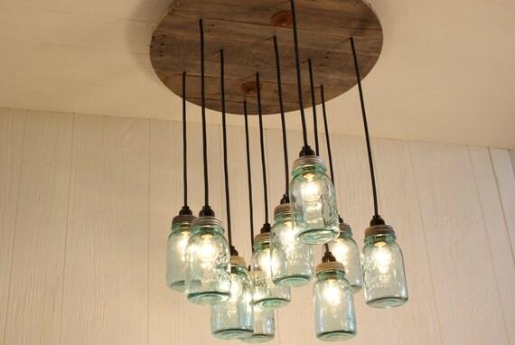 Mason Jar Chandelier - Antique Blue Mason Jars - Mason Jar Lighting - Upcycled Wood