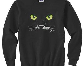 Crewneck Sweatshirt / Green Eyed Cat
