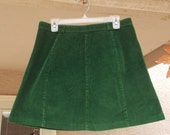 Vintage High Waisted Green Corduroy A-Line Skirt