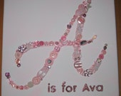 """Personalised Initial Letter button Canvas.Letter 'A' is for Ava- 10""""x10"""" Made to Order-Girl"""