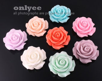 50%off 8pcs-30mm Large Detaied Leaves Rose Resin Cabochons -8colors(J106)