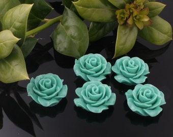 50%off 8pcs-20mm Medium Detaied Leaves Rose Resin Cabochons -Turquoise(J107A)