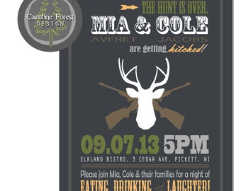 Custom WEDDING INVITATION DESIGN with rsvp cards - Hunting & Rifles