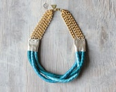 "Braided Rope necklace "" Inanna ""  /// Teal Blue Ombre - Tzunuum"