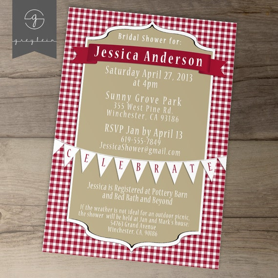Bridal Shower Invitations / Red Khaki Picnic / DIY Printable / Gingham