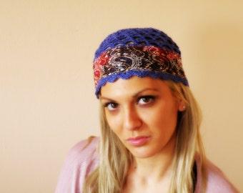 WOMEN HAT blue LACE beanie crochet hat denim blue lacy beanie cap