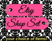 ASSEMBLE YOUR OWN Premade Etsy Banner & Shop Set 36 - Pink, black, white, damask, clothing tag, custom, customizable