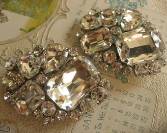 Oval shoe clips, pair shoe clips, rhinestone shoe clips, silver shoe clips, shoe decoration, vintage shoe clips